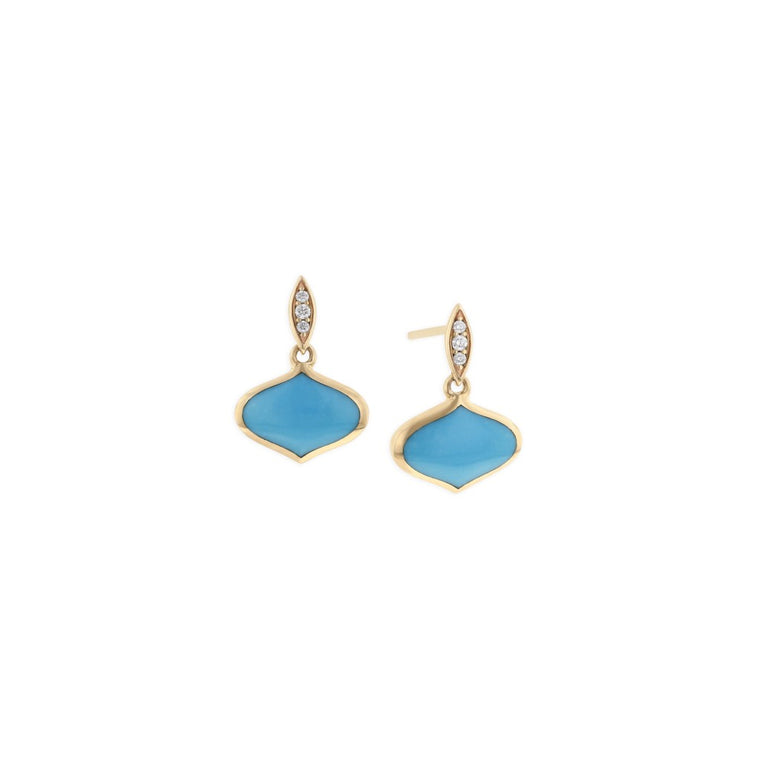 Kabana 14k Yellow Gold and Turquoise Inlay Drop Earrings