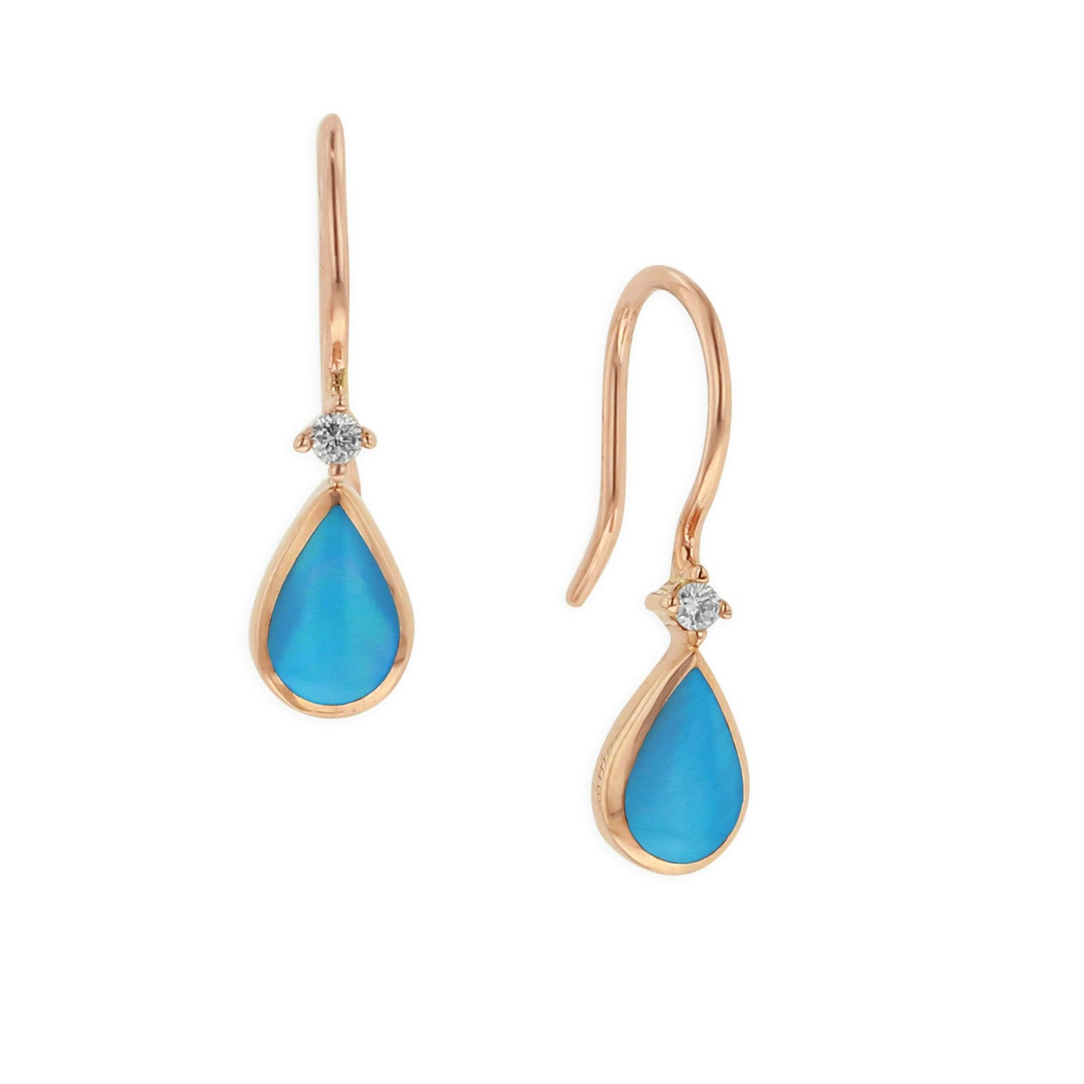 Kabana Pear Turquoise Wire Drop Earrings