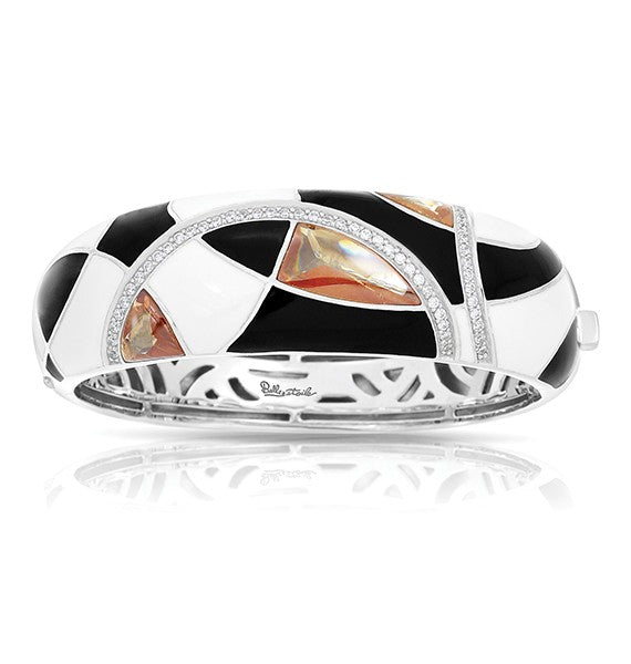 Belle Etoile Tango Champagne, Black, and White Bangle Bracelet