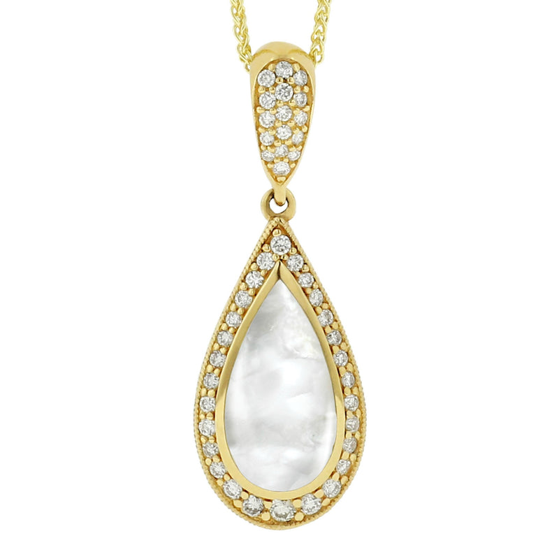 Kabana Pear White Mother of Pearl Diamond Pendant
