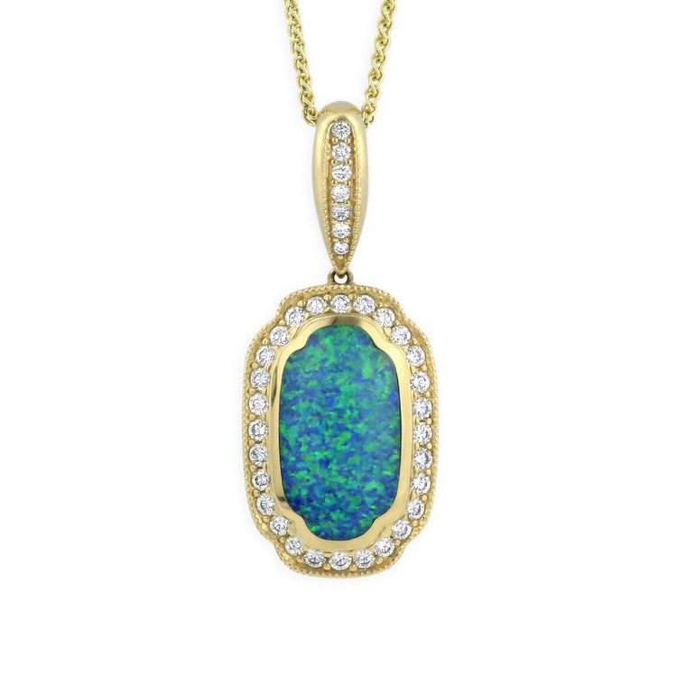 Kabana Opal Necklace with a Diamond Halo