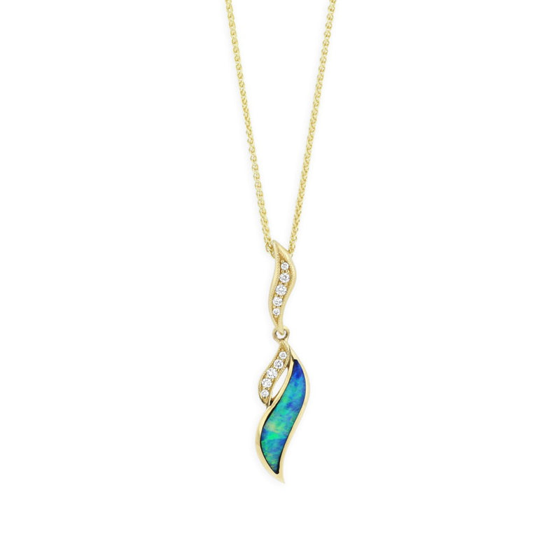 Kabana Turquoise Inlay and Diamond Pendant Necklace