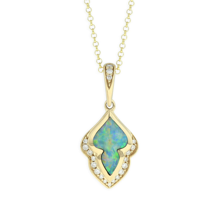 Kabana Opal Necklace with Diamond Accents