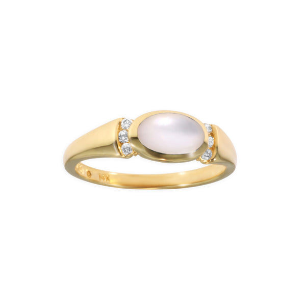 Kabana Oval White Mother of Pearl Ring with Diamond Accents
