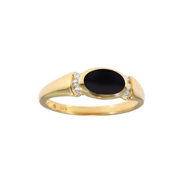Kabana Oval Onyx Ring with Diamond Accents