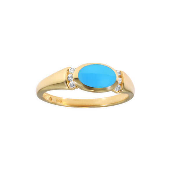 Kabana Oval Turquoise Ring with Diamond Accents