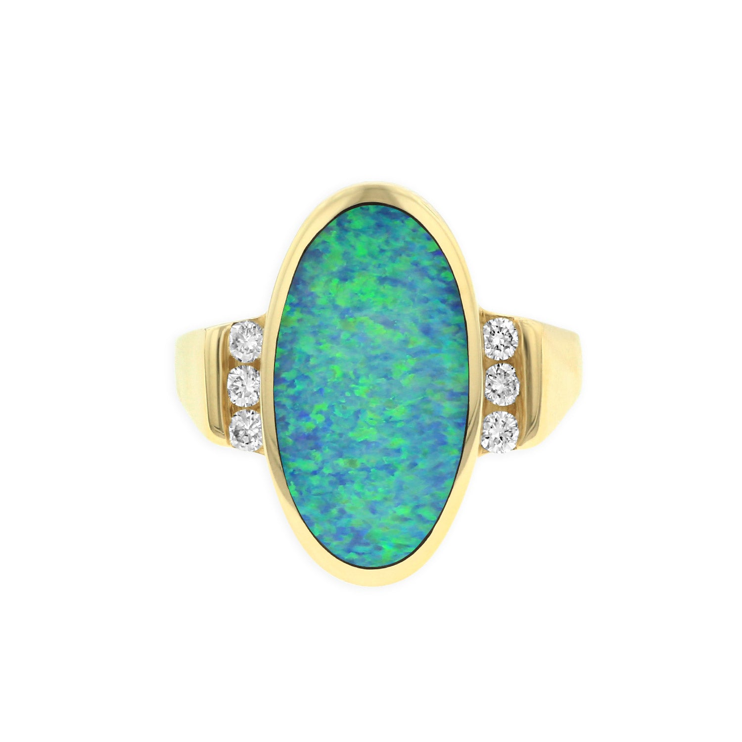 Kabana Oval Opal Ring with Diamond Accents