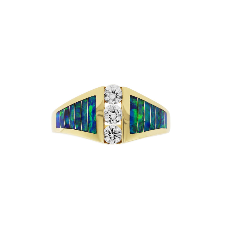 Kabana Opal Inlay Ring with Three Diamonds
