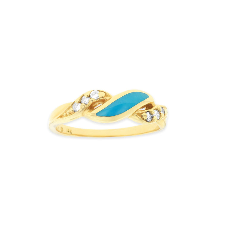 Kabana Turquoise and Diamond Wave Ring