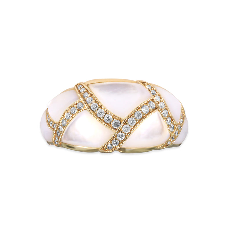 Kabana White Mother of Pearl and Diamond Wide Band