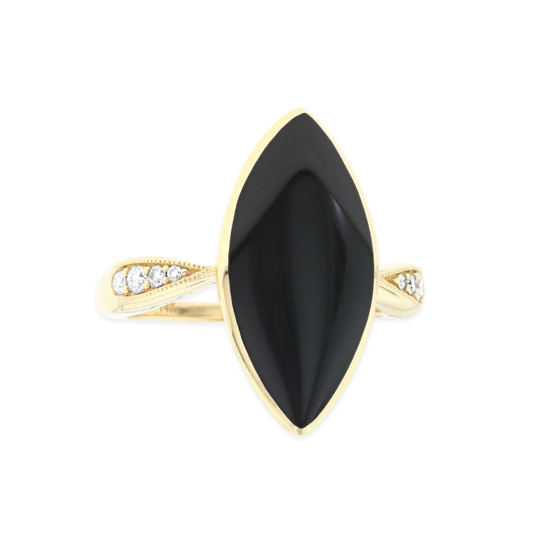 Kabana Marquise Onyx and Diamond Ring