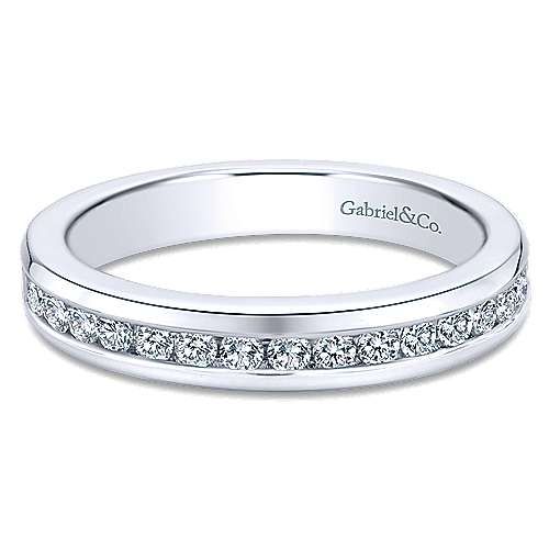 Gabriel and Co. 14k White Gold Wedding Band with Channel Set Diamonds