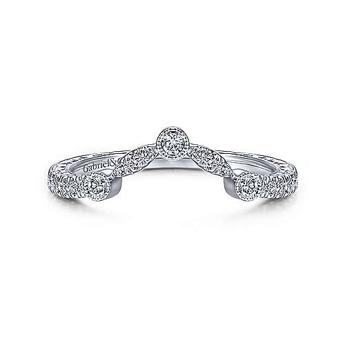 Gabriel and Co. 14k White Gold Contour Wedding Band