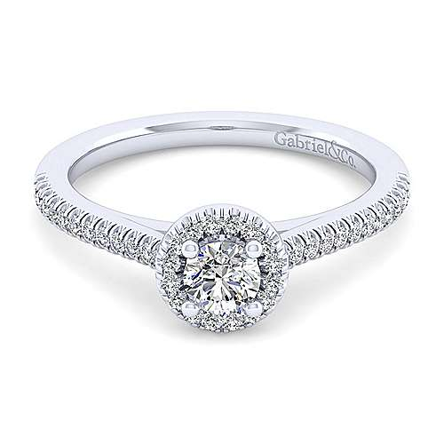 Gabriel and Co. 14k White Gold Round Halo Engagement Ring