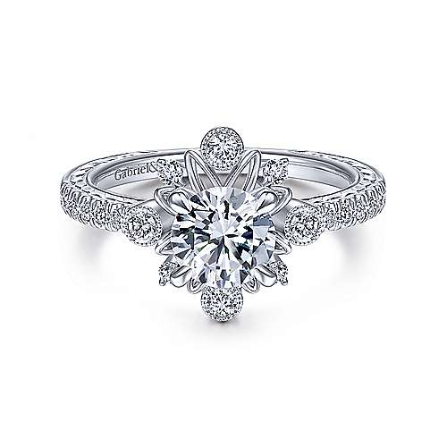 Gabriel and Co. 14k White Gold Starburst Engagement Ring