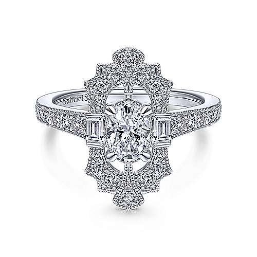 Gabriel and Co. 14k White Gold Art Deco Engagement Ring