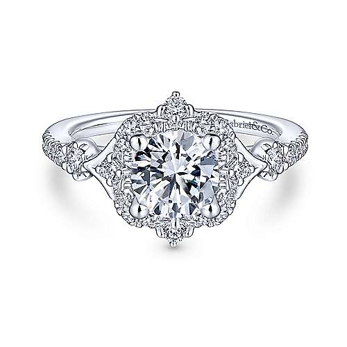 Gabriel and Co. 14k White Gold Vintage Style Halo Engagement Ring