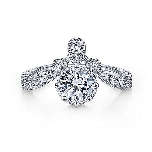 Gabriel and Co. 14k White Gold Vintage Inspired Engagement Ring
