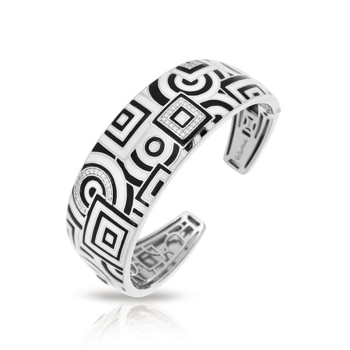 Belle Etoile 'Geometrica' Black and White Cuff Bracelet
