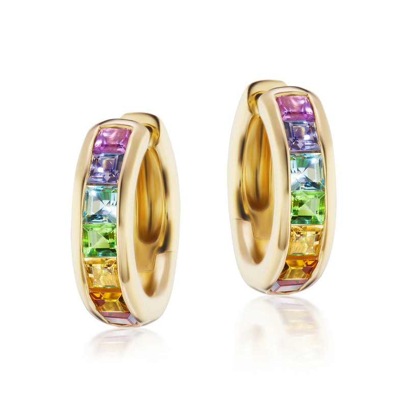 Jane Taylor Rainbow Classic Hoops w/ Squares