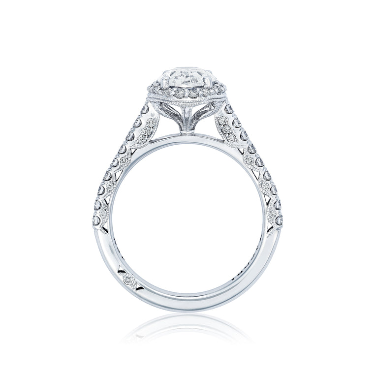 Tacori 'Petite Crescent' 8x6 Oval Halo Engagement Ring