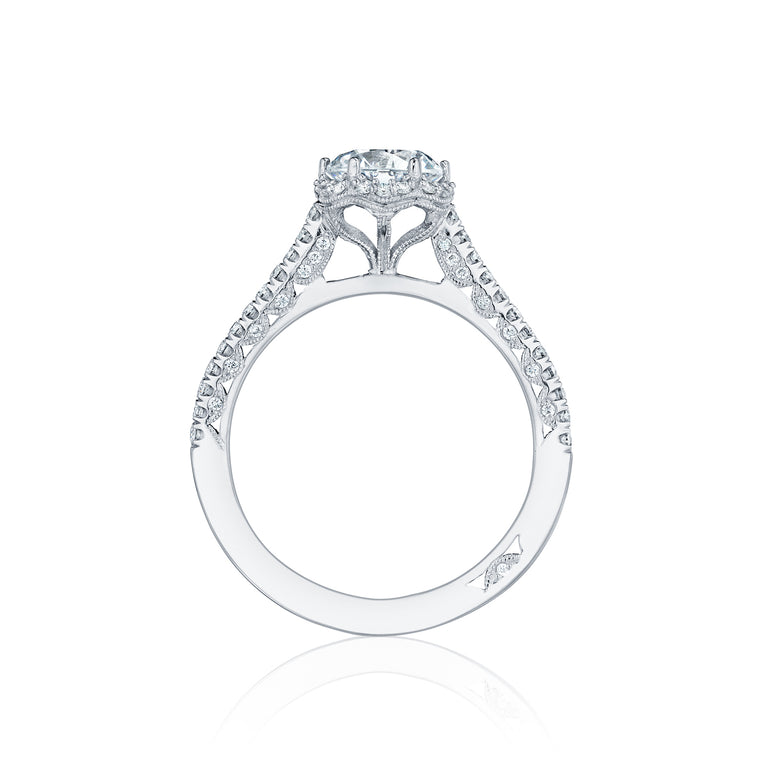 Tacori 'Petite Crescent' 6.5mm Round Halo Engagement Ring