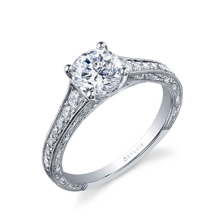Sylvie Desirae 14k White Gold Vintage-Style Engagement Ring
