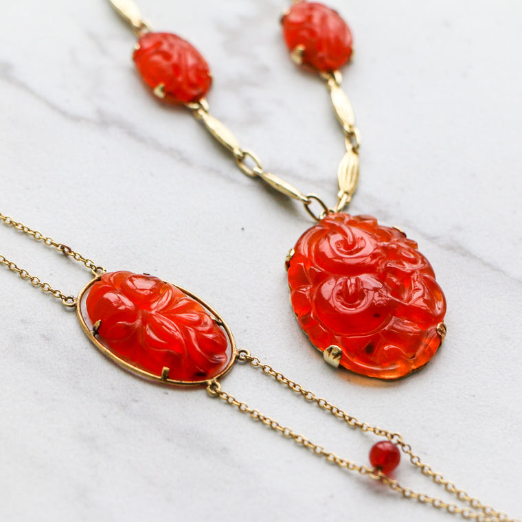 Antique Carved Carnelian Necklace with 14k Yellow gold