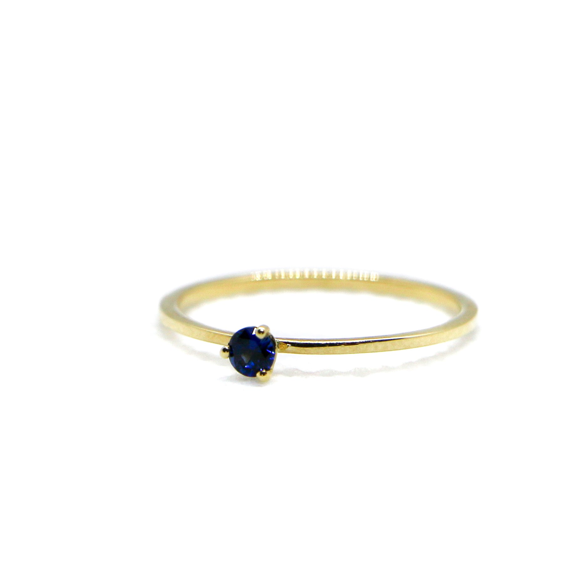 Hand Made September Birthstone and 14k Yellow Gold Stacking Ring