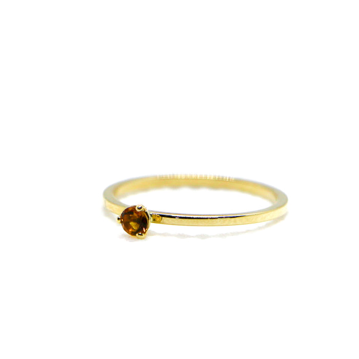 Hand Made November Birthstone and 14k Yellow Gold Stacking Ring
