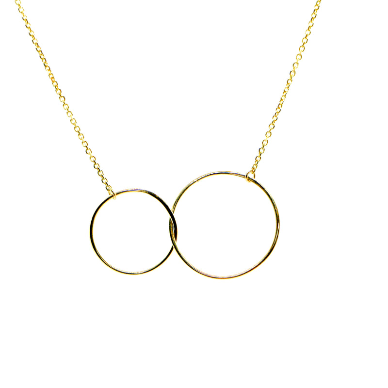 Hand Made 14k Yellow Gold Interlocking Circle Necklace