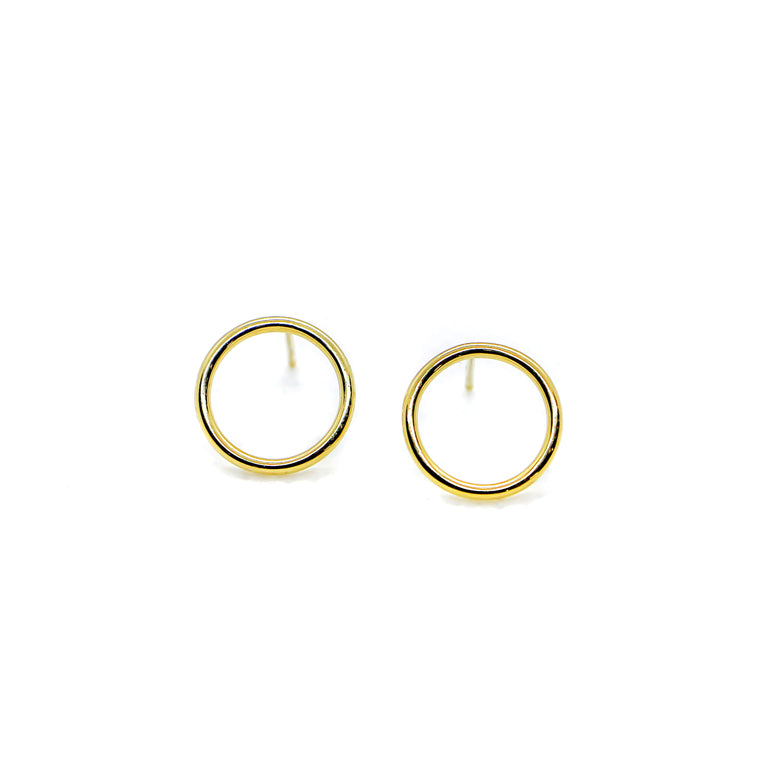 Hand Made 14k Yellow Gold Circle Earrings