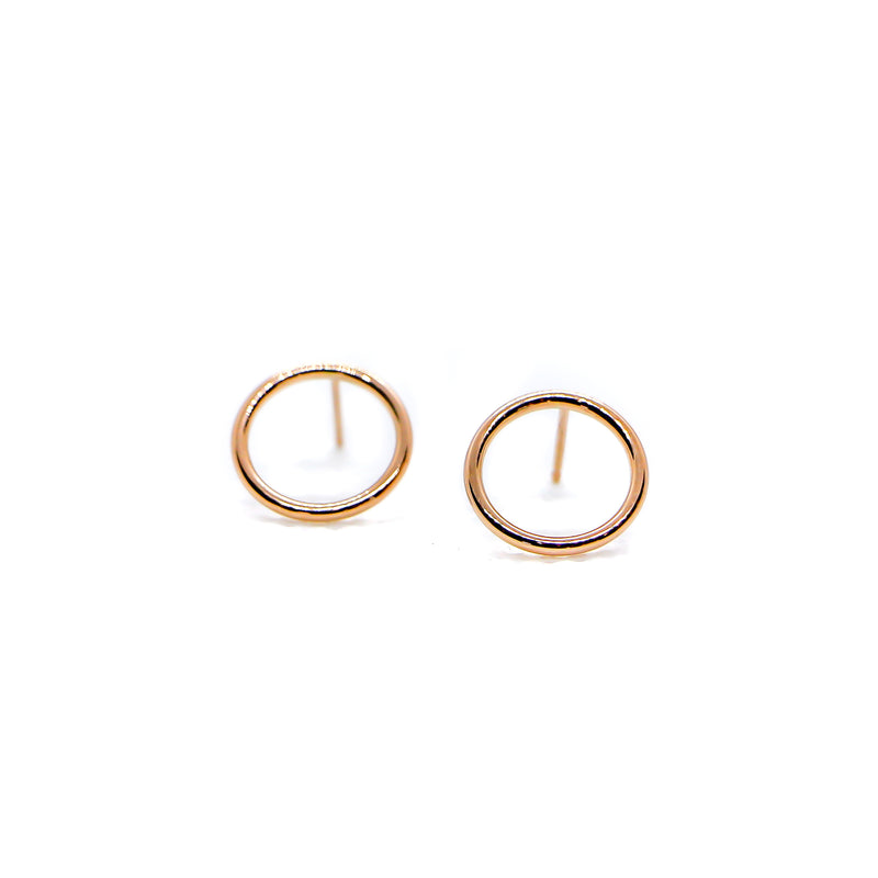 Hand Made 14k Rose Gold Circle Earrings
