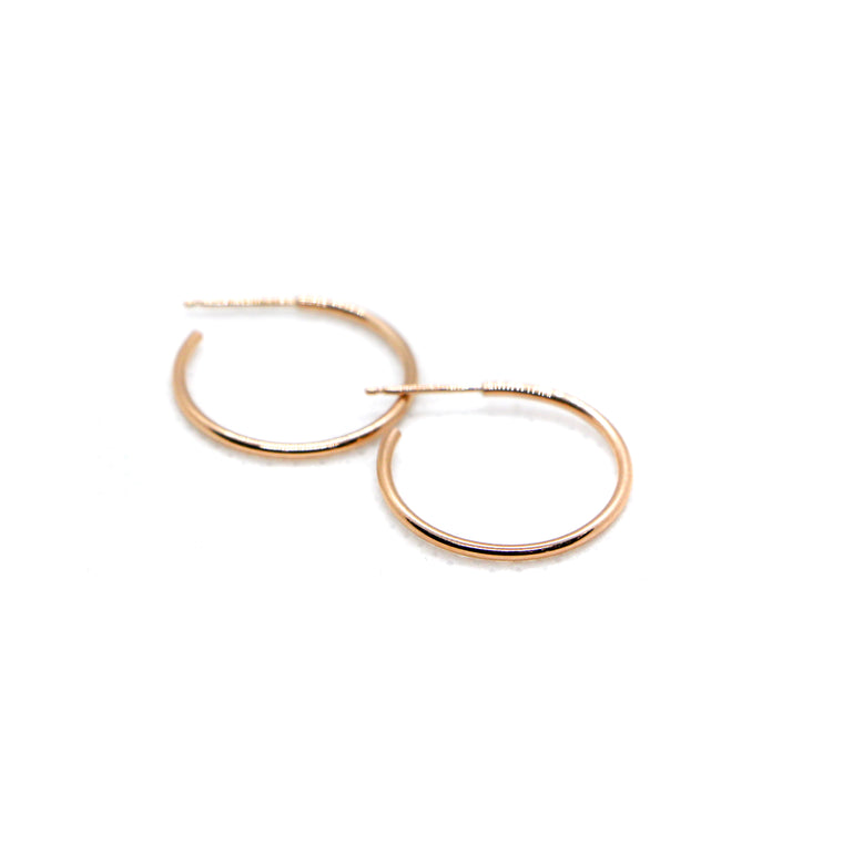 Hand Made Small 14k Rose Gold Hoop Earrings