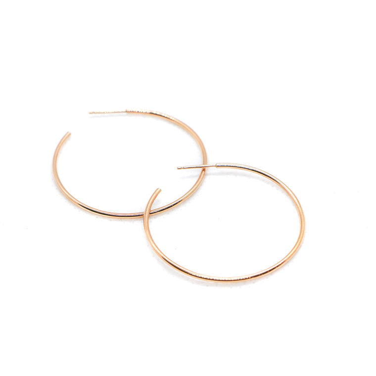 Hand Made Large 14k Rose Gold Hoop Earrings