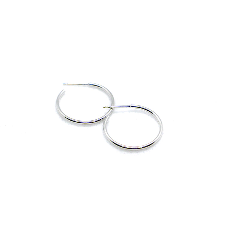 Hand Made Small 14k White Gold Hoop Earrings