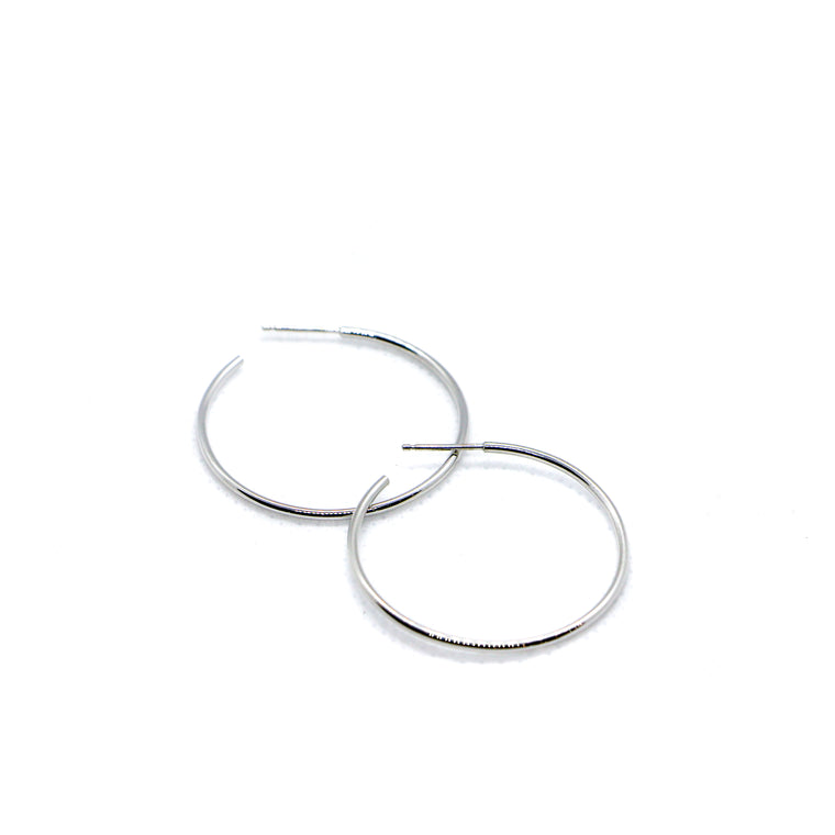 Hand Made Medium 14k White Gold Hoop Earrings