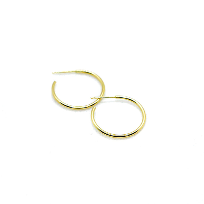 Hand Made Small 14k Yellow Gold Hoop Earrings