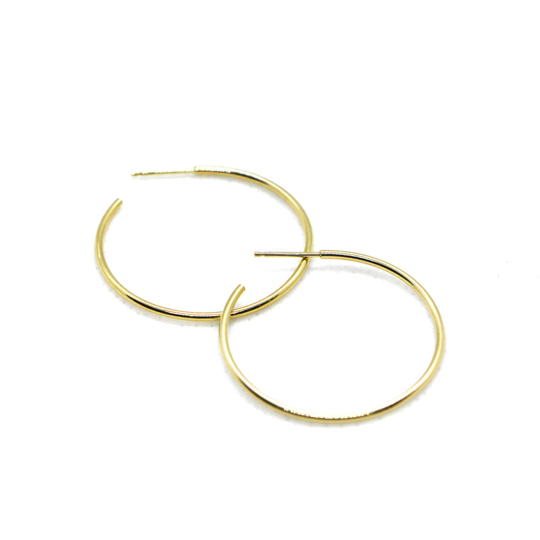 Hand Made Medium 14k Yellow Gold Hoop Earrings