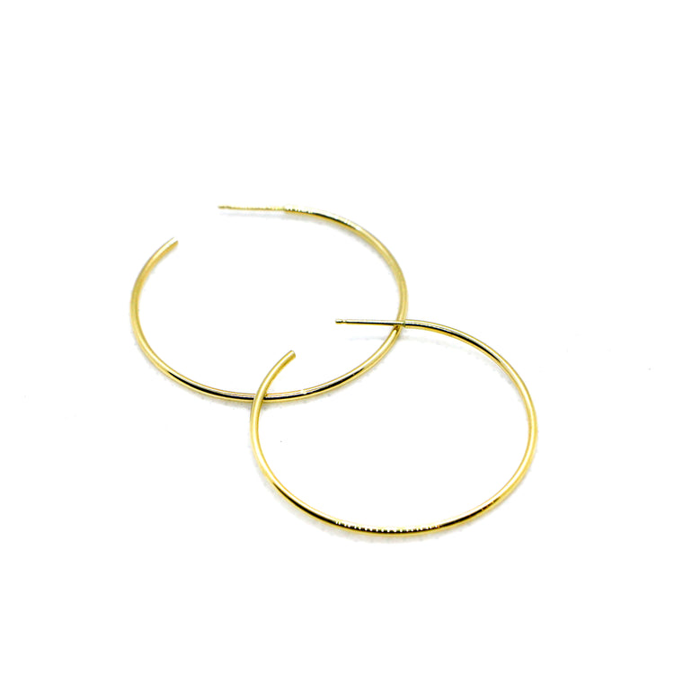 Hand Made Large 14k Yellow Gold Hoop Earrings