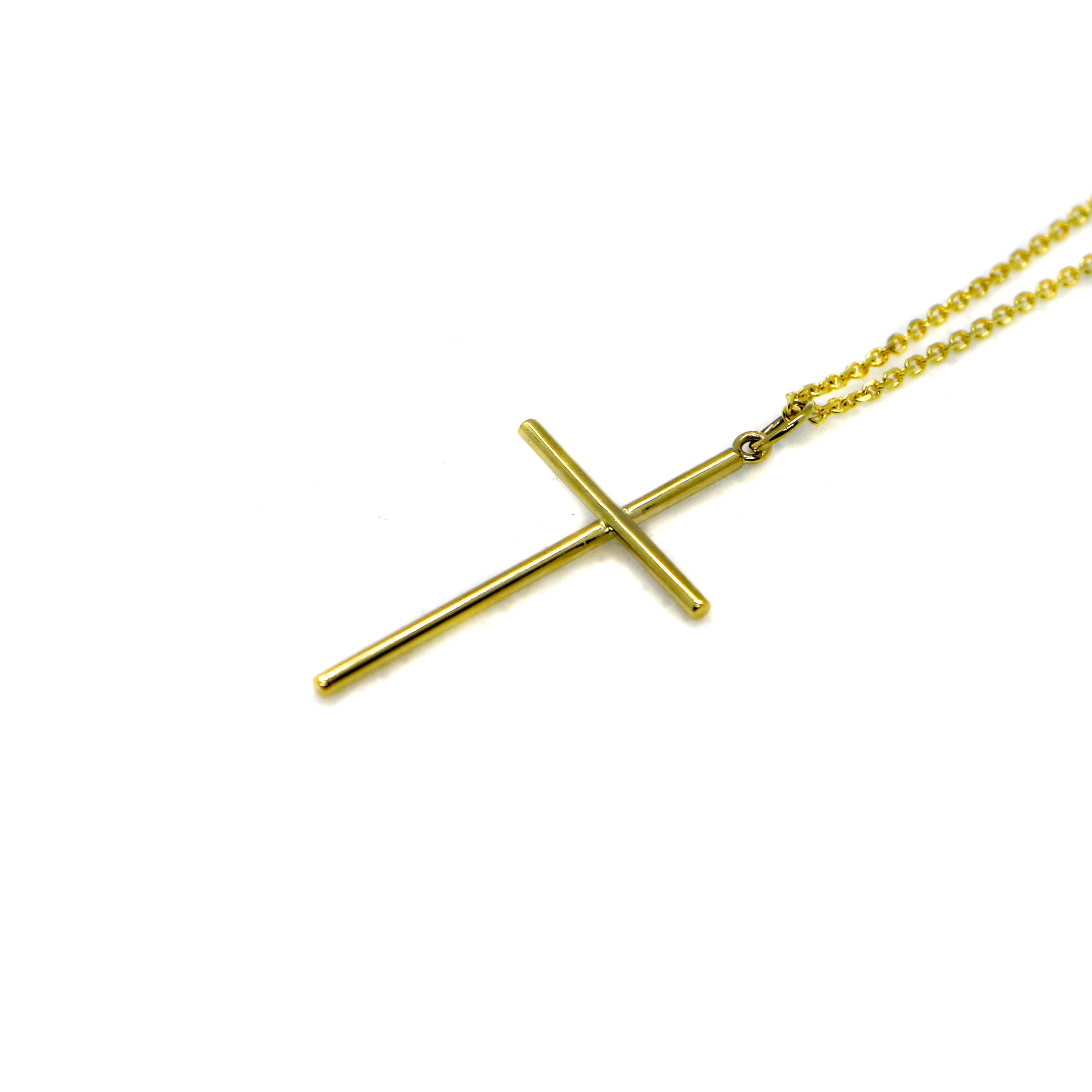 Hand Made Large 14k Yellow Gold Cross Pendant