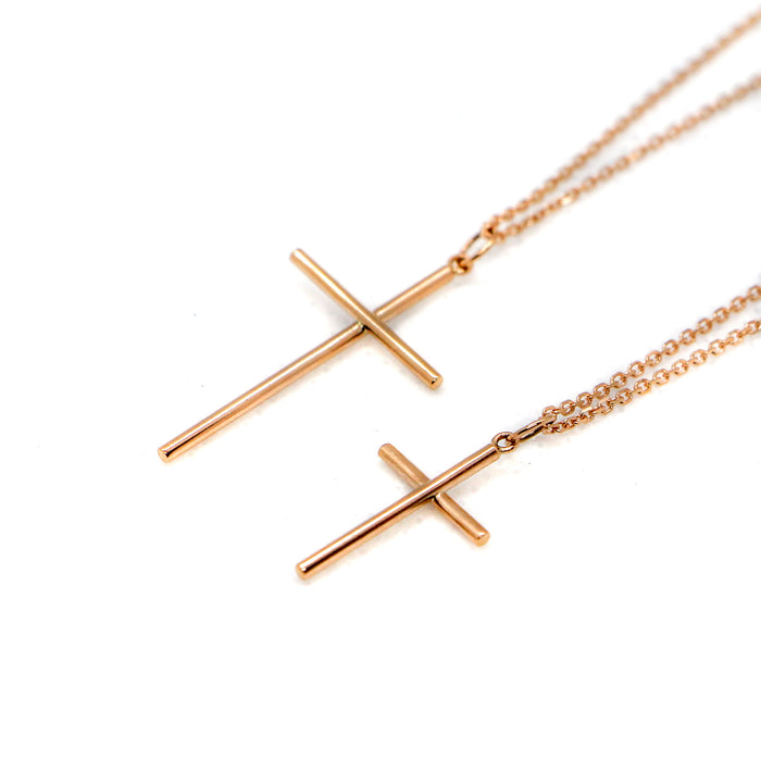 Hand Made Large 14k Rose Gold Cross Pendant