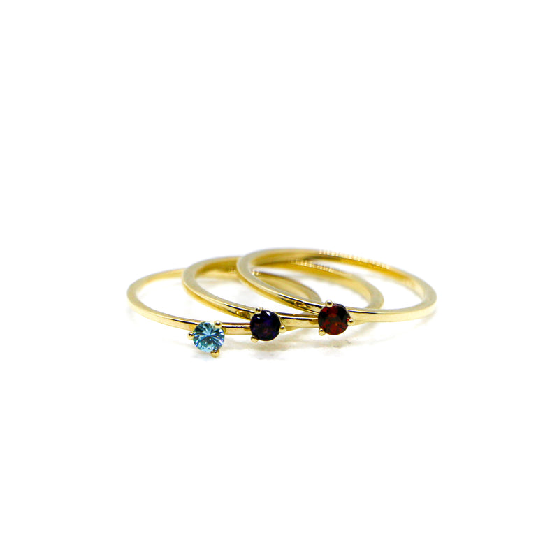 Hand Made March Birthstone and 14k Yellow Gold Stacking Ring