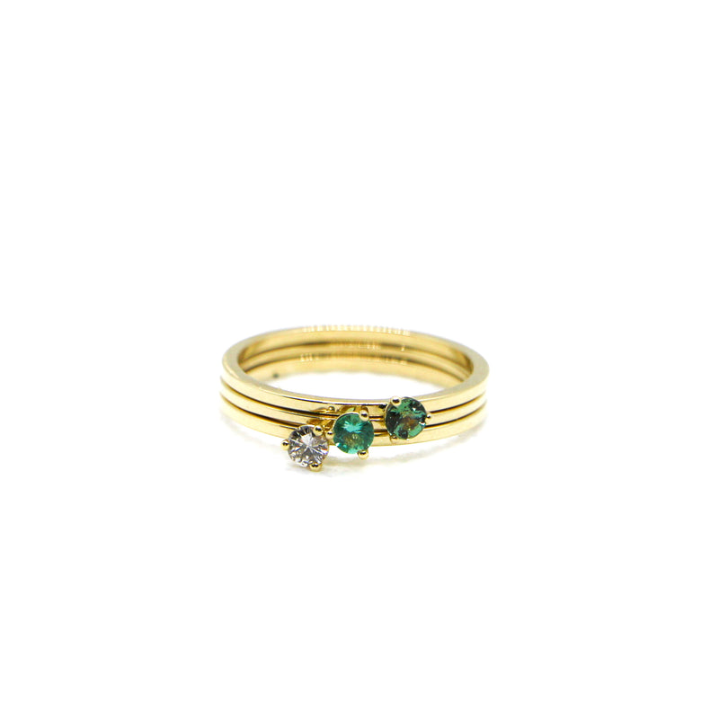 Hand Made May Birthstone and 14k Yellow Gold Stacking Ring