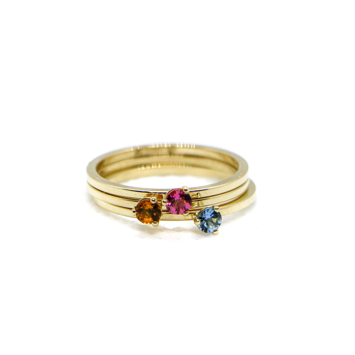 Hand Made October Birthstone and 14k Yellow Gold Stacking Ring