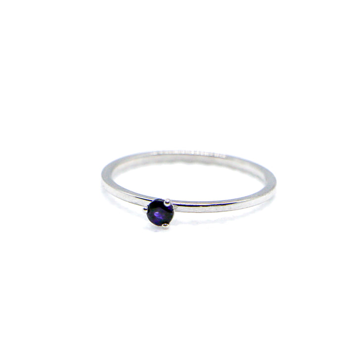 Hand Made February Birthstone and 14k White Gold Stacking Ring