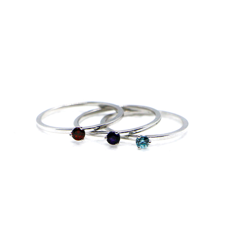 Hand Made January Birthstone and 14k White Gold Stacking Ring