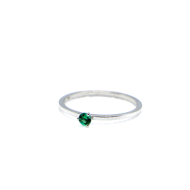 Hand Made May Birthstone and 14k White Gold Stacking Ring