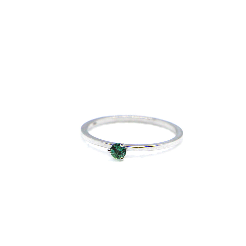 Hand Made June Birthstone and 14k White Gold Stacking Ring