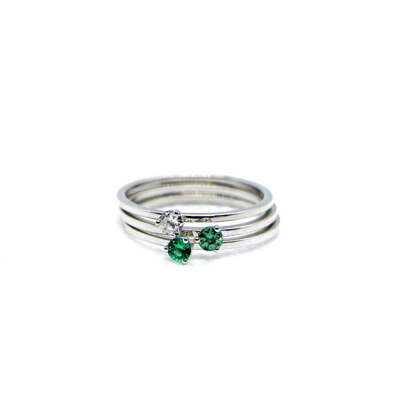 Hand Made April Birthstone and 14k White Gold Stacking Ring
